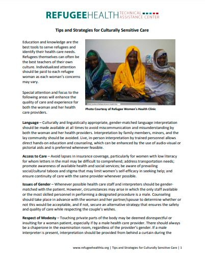 Typed tip sheet with image of three women
