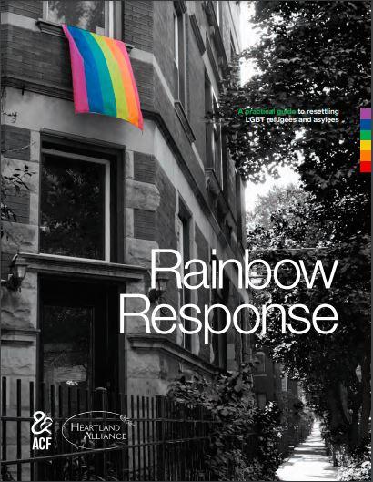Building with rainbow flag