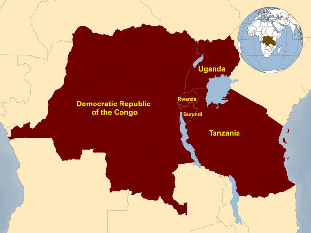 Map of DRC and surrounding countries
