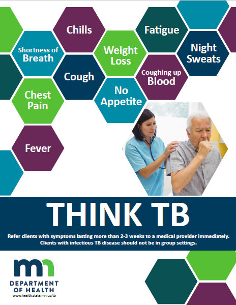 Poster with image of coughing man and multi-colored hexagons