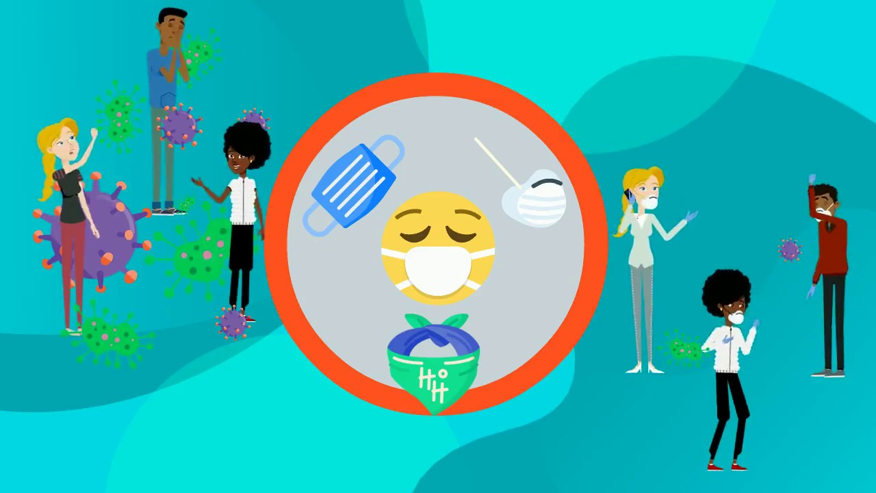 Icon of face mask with cartoon people