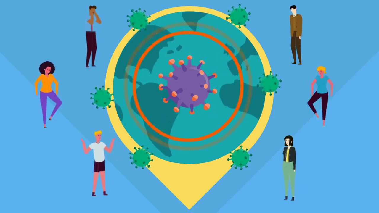 COVID-19 disease icon surrounded by cartoon people