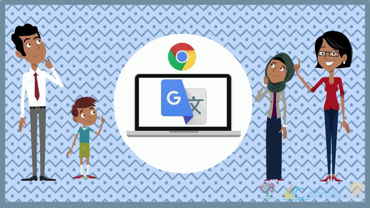 Cartoon family with Google logo and laptop