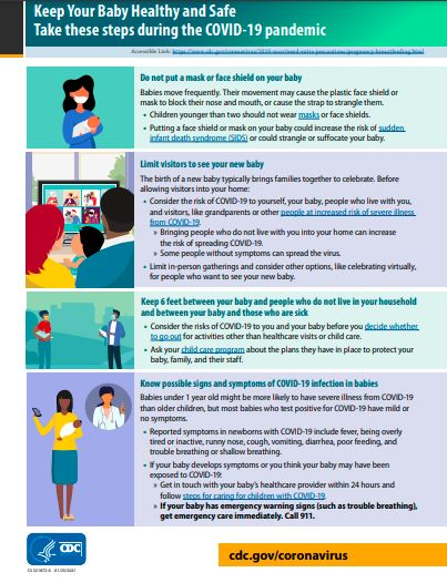 Illustrated fact sheet with families and babies