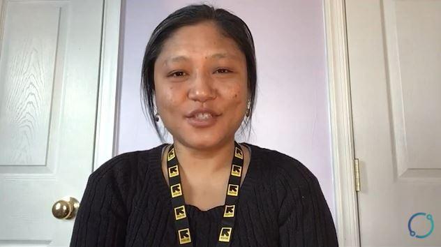 Woman wearing lanyard