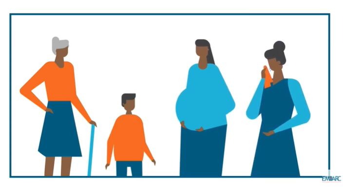 Illustrated family with elders and children
