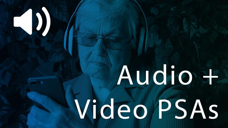 Image of elderly woman in headphones