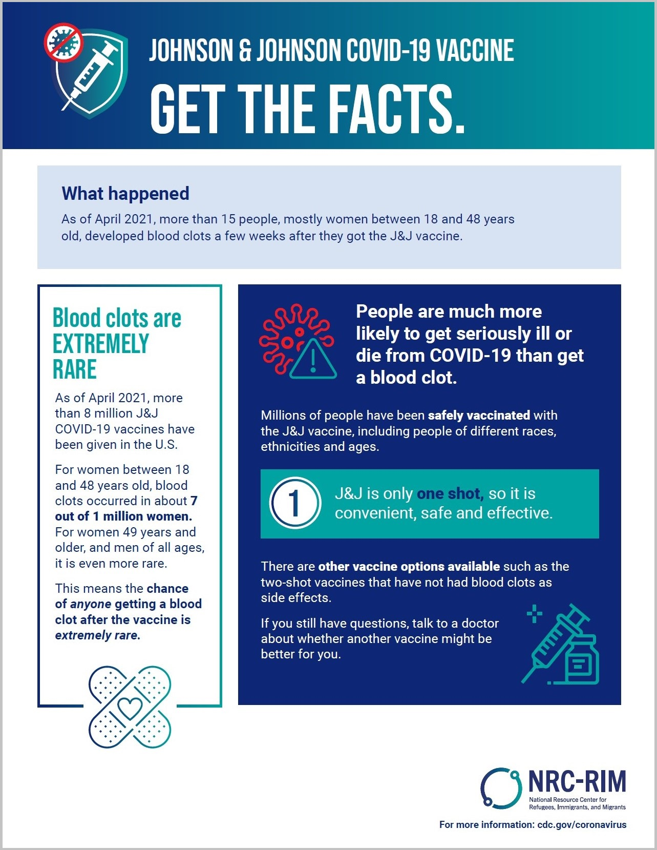 Typed fact sheet with vaccine and bandaid icons