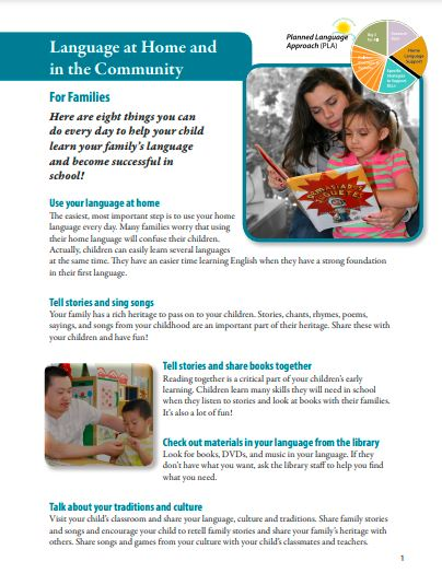 Typed fact sheet with parent and child reading