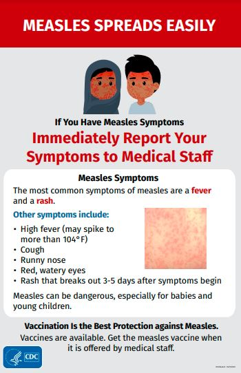 Poster with illustration of people with measles